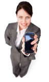 businesswoman showing a mobile phone Royalty Free Stock Photo