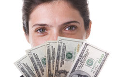 Businesswoman showing the money Royalty Free Stock Photos