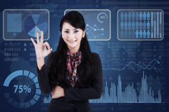 Businesswoman showing OK gesture 1 Stock Images