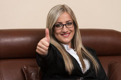 Businesswoman Showing Ok Sign With His Thumb Up Stock Image