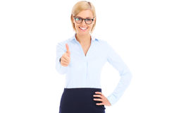 Businesswoman showing ok sign Royalty Free Stock Images