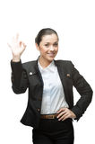 Businesswoman showing ok Stock Images