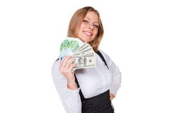 Businesswoman showing paper money Stock Image