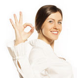 Businesswoman showing the sign ok Royalty Free Stock Photography