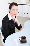 Businesswoman showing silence sign Royalty Free Stock Photos