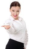 Businesswoman showing small plane model Royalty Free Stock Photography