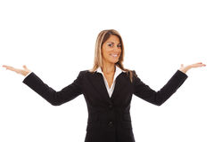 Businesswoman showing something Royalty Free Stock Images