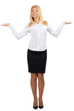 Businesswoman showing something on her palms Stock Photo