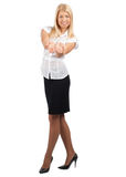 Businesswoman showing something on her palms Stock Image