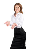 Businesswoman showing something on her palms Stock Images