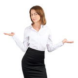 Businesswoman showing something on the palms Stock Photography