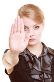 Businesswoman showing stop hand sign gesture Royalty Free Stock Image