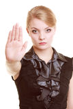 Businesswoman showing stop hand sign gesture Royalty Free Stock Photos