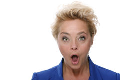 Businesswoman showing surprise. Royalty Free Stock Photo