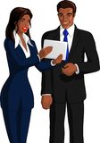 Businesswoman Showing Tablet Computer To Colleague. Vector illustration of a black businesswoman showing screen of tablet computer to a black businessman Stock Image