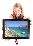 Businesswoman showing tablet touchpad photo summer vacation Royalty Free Stock Images