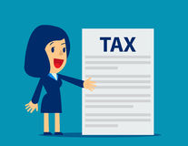 Businesswoman is showing tax. Concept business tax illustration. Vector flat Stock Photography