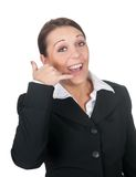 Businesswoman showing telephone sign Stock Image