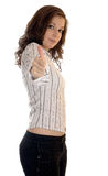 Businesswoman showing thumb's up sign Stock Photo