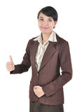 Businesswoman showing thumb up. Isolated on white background Stock Photo