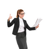 Businesswoman showing thumb up Stock Photography