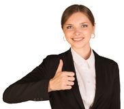 Businesswoman showing thumb up Stock Image