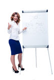 Businesswoman showing thumb up and pointing on flipchart Stock Photos