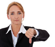 Businesswoman showing thumbs down Stock Images