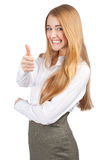 Businesswoman showing thumbs up Stock Image