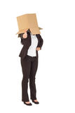 Businesswoman showing thumbs up with box over head Royalty Free Stock Photography