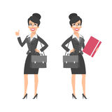 Businesswoman showing thumbs up holding briefcase folder Royalty Free Stock Photo