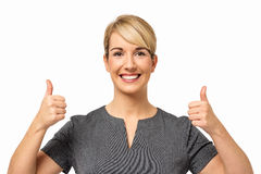Businesswoman Showing Thumbs Up Sign Stock Photo