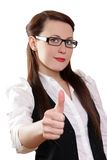 Businesswoman showing thumbs up on white backgroun Stock Images