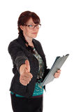 Businesswoman showing thump up. Royalty Free Stock Photography