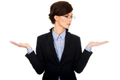 Businesswoman showing two empty hands. Stock Photos