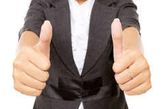 Businesswoman showing two thumbs up Royalty Free Stock Image