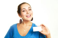 Businesswoman showing us a business card Stock Image