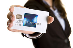 Businesswoman showing visa credit card Royalty Free Stock Image