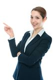 Businesswoman showing on white background Stock Photography