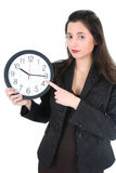 Businesswoman showing at you time Royalty Free Stock Photo