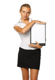 Businesswoman shows blank clipboard Stock Photos