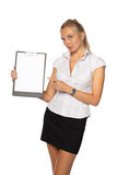 Businesswoman shows blank clipboard Royalty Free Stock Photos