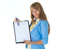 Businesswoman shows blank clipboard. Stock Photography