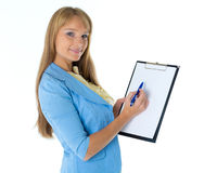 Businesswoman shows blank clipboard. Stock Images