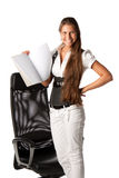 Businesswoman shows a blank writing-book Royalty Free Stock Photography