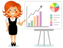 Businesswoman shows growth schedule on a board Stock Images
