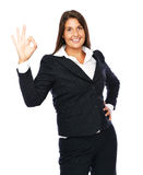 Businesswoman shows ok sign Royalty Free Stock Photography