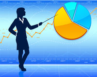 Businesswoman shows pie chart Stock Images