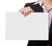 Businesswoman shows slogan Royalty Free Stock Image