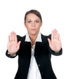 Businesswoman shows stop sign Stock Photography